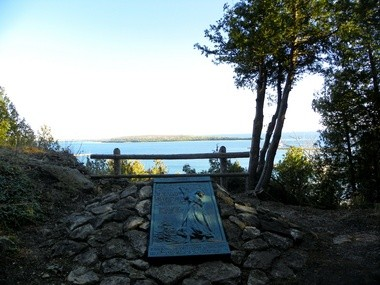 Anne's Tablet: 19th century writer Constance Fenimore Woolson set one of her novel's on Mackinac Island, and this view from the bronze plaque offers one heck of a view of the Straits.