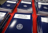 Copies of President Donald Trump's first budget are displayed at the Government Printing Office in Washington, Thursday, March, 16, 2017. (AP Photo/J. Scott Applewhite)
