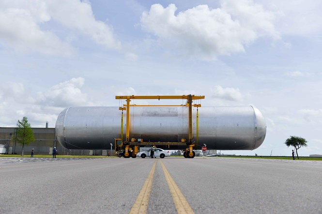 Manufacturing is complete on the liquid hydrogen tank structural qualification test article, shown here. It is being prepared for shipping to NASA's Marshall Space Flight Center in Huntsville, Alabama for testing later in 2017. NASA is using new equipment to move parts of the largest rocket stage ever built.