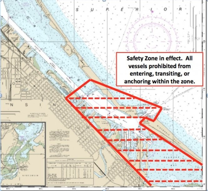 The U.S. Coast Guard established a safety zone in Lake Superior's port area near the refinery.