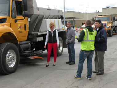 Walker City Clerk Sarah Bydalek gets last-minute instructions from Walker DPW driver Tom Klein before she makes her run at the Snow Plow Roadeo.