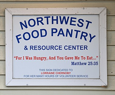 This sign directs those in need to the Northwest Food Pantry.