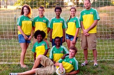 Pictured from left are members of the Larsen family of Wayland. In back row: Marcy Larsen; Jake, 14; Bizuayehu, 15; Brooke, 16; and Doug Larsen. In bottom row: Bizu, 9; Dergaso, 7; and Matt, 17.