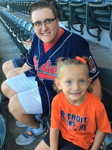 Bekah Skrycki, 6, met her bone marrow donor, Anthony Colangelo, at a Detroit Tigers game in September.Photo provided to MLive by Amy Skrycki