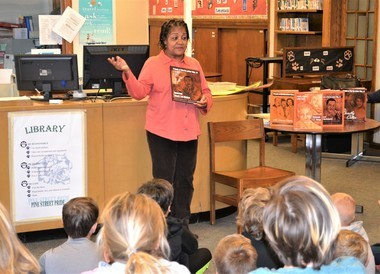 Author Jacqueline James recently spoke to fifth-graders at Pine Street elementary in Wayland.Photo provided to MLive by Laurie Zywiczynski