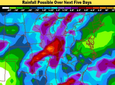 The rainfall over the next five days could be heavy once again. Not as heavy as this past week, but over one inch.