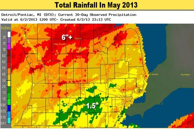 Total rainfall in May varied greatly from one and a half inches near Coldwater to over six inches in central and northeast Michigan.