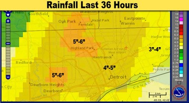 This is a closer image of the rainfall in the Detroit area Monday August 11, 2014. The heaviest rain fell on the north side of Detroit from Highland Park to Ferndale and Oak Park. Also an area near Dearborn had over five inches of rain.