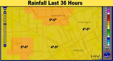 This close-up image of the rainfall in Detroit shows the heaviest rain falling on the River Rouge drainage basin.