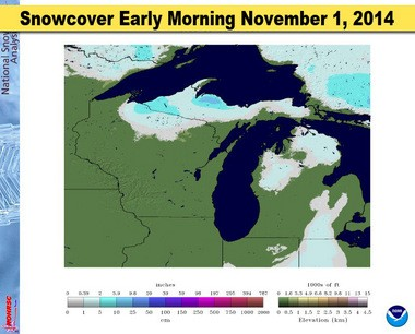 This is a computer analysis of the snow cover early morning November 1, 2014. It's a good way to see where the snow fell.