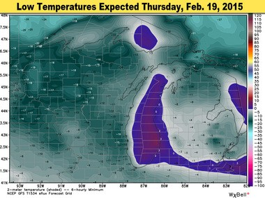 Low temperatures expected Thursday morning will again be well below zero. Southern Lower Michigan will cool to -5deg to -10deg in most places at sunrise Thursday.
