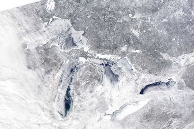 Great Lakes ice cover continues to grow rapidly, now surpassing the amount of ice at this time last year.