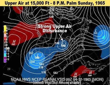 """The middle level of the atmosphere showed a strong disturbance, signified by the """"U"""" shaped bend in the lines. This disturbance makes the air start to rise and rotate."""