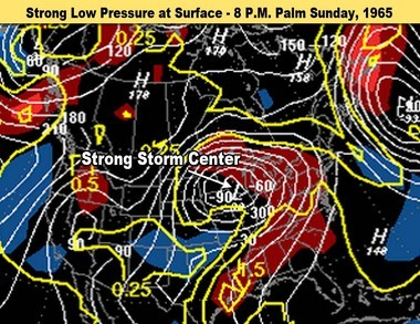 The surface map at 8 p.m. April 11, 1965 showed a strong surface low pressure system just to the west of Michigan. This location of the storm center put Lower Michigan in the warm sector of the storm, where most of the severe weather typically happens.