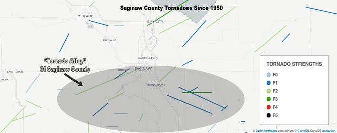 Maps Show Tornado Alleys In Saginaw Bay Counties And Beyond