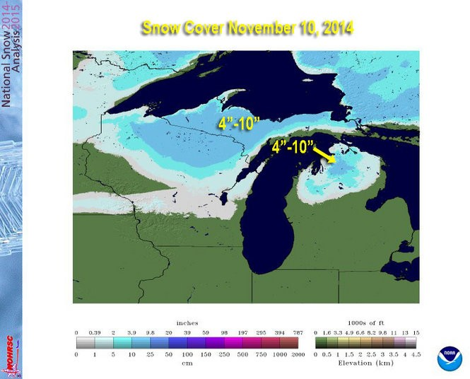 """Snow cover November 10, 2014 showed 49.9% of Michigan covered with snow. The deepest snow cover was already 14.4"""" at Munising, MI."""