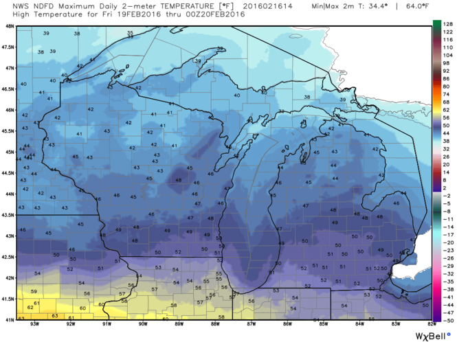 Friday's high temperatures are expected to be around 50deg or even a little warmer in the southern half of Lower Michigan. (source: NOAA/weatherbell.com)