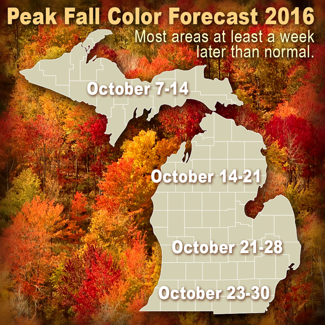 Fall colors should be at least a week later than normal. Here is a first estimate of peak fall color times. Watch for updates.