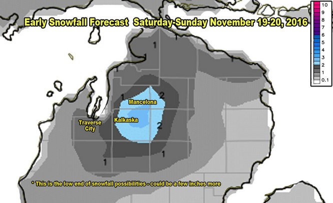 Snowfall forecast totals from the GFS for Saturday-Sunday, November 19-20, 2016.