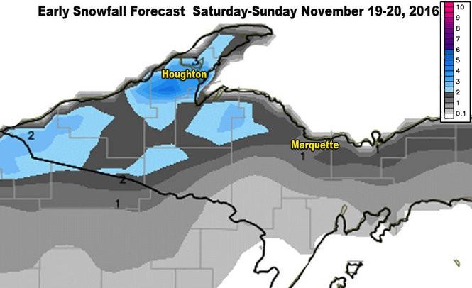 Total snowfall forecast for Saturday-Sunday, November 19-20, 2016.