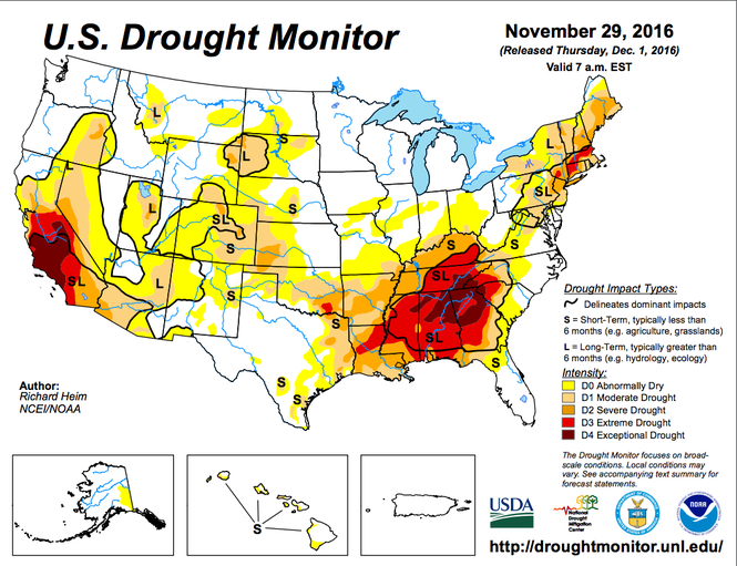 Drought Rapidly Expanding In Southern Us And May Impact Great - Drought-map-us