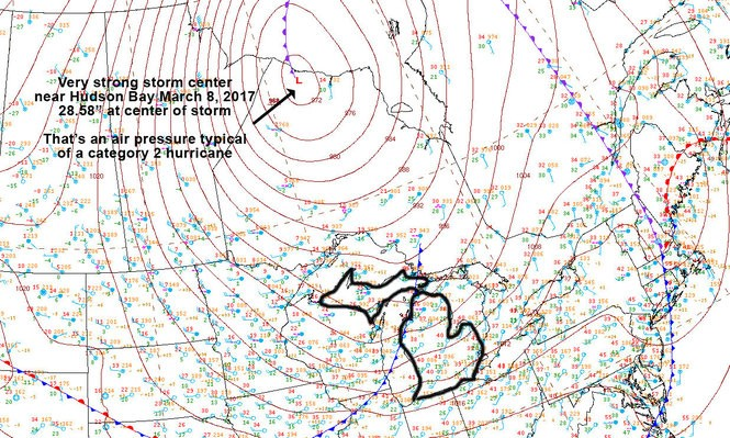 The surface weather map Wednesday morning, March 8, 2017 showed a huge storm centered near Hudson Bay. The lowest pressure in the center of the storm was equivalent to an air pressure typical of a category two hurricane.