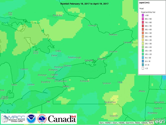 Total rainfall (in mm) for February 19, 2017 to April 19, 2017. Most of the Canadian portion the Lake Ontario watershed had five inches more precipitation than average.