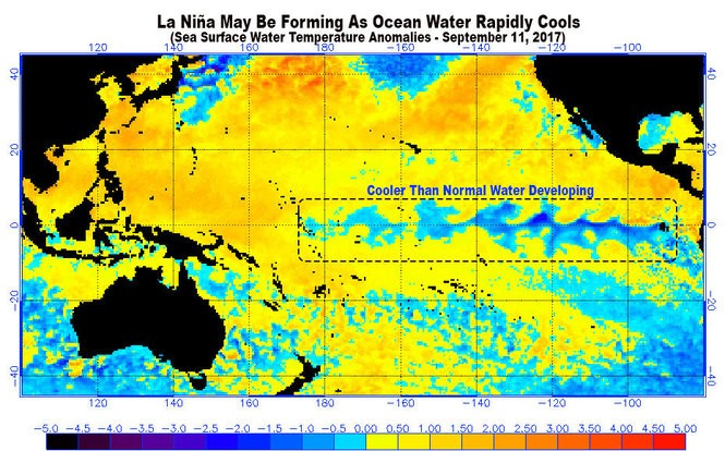 Ocean water is cooling rapidly along the equator. The cooler water could turn into La Nina.