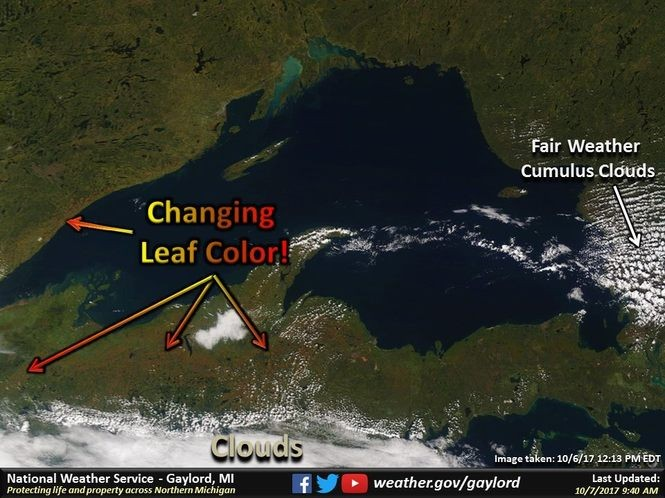 A view of the Upper Peninsula's fall color from space.