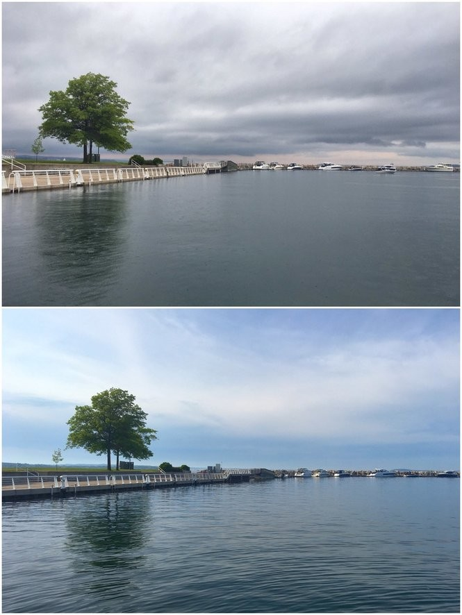 Comparison of water at Clinch Park in Traverse City. Top image is during the meteotsunami. Bottom image is after the water had receded.