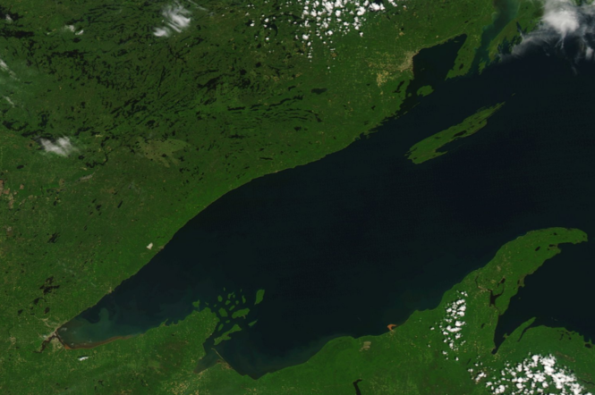 Satellite image on June 14, 2018, before the heavy rain. Notice no visible sediment flowing into Lake Superior.