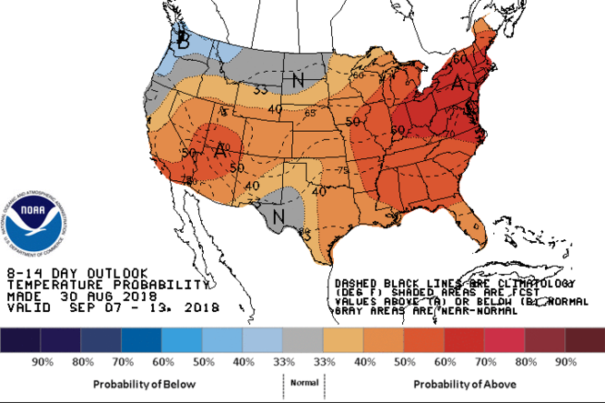 Eight to 14 day temperature forecast for September 7-13, 2018