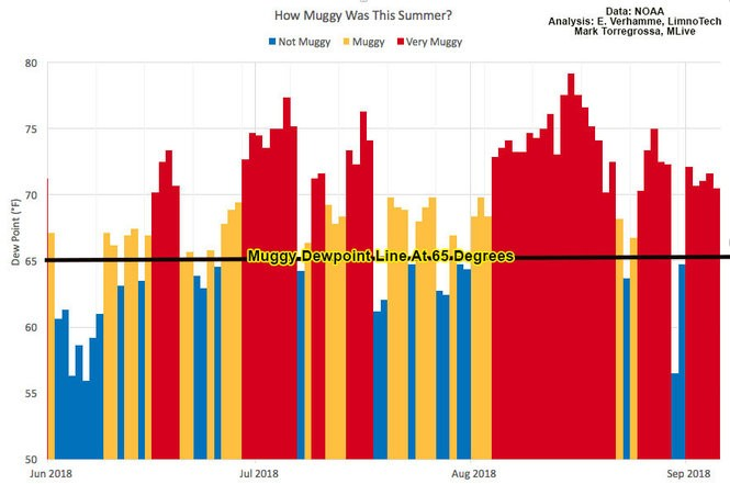 Graph shows highest dewpoint temperature for each day from June 1, 2018 to September 5, 2018 at Holland, MI
