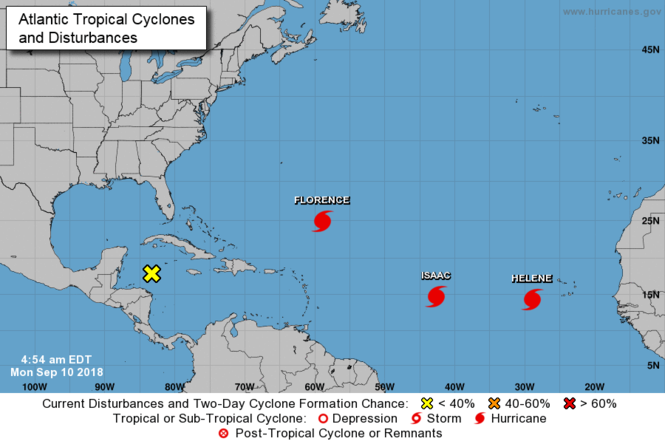 Position and name of hurricanes in Atlantic at 4:54 a.m. EDT, September 10, 2018