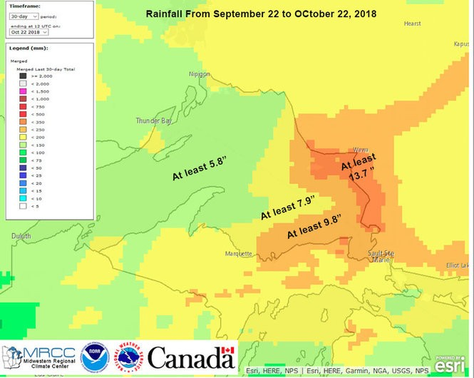 Total rainfall between September 22 and October 22, 2018