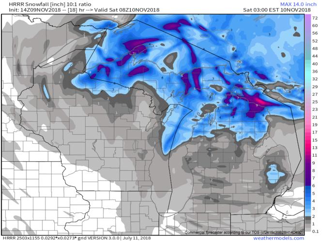 Total snowfall forecast through 3 a.m. Saturday morning.