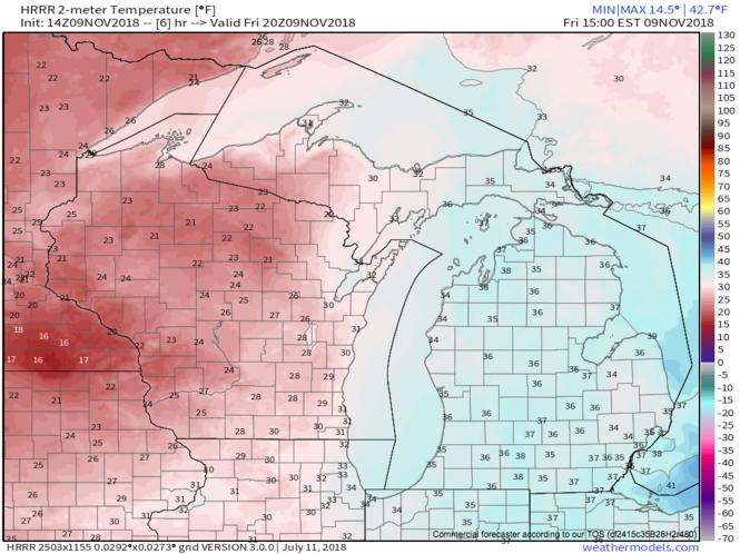 Temperatures expected at 3 p.m. Friday, November 9, 2018