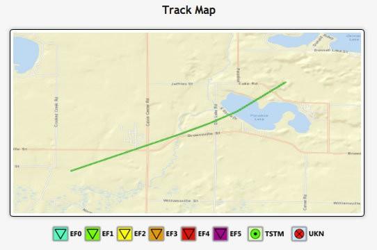 Tornado track in Vandalia, MI in Cass County.