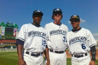 West Michigan Whitecaps, from left, Jose Valdez, Jeff Holm and Devon Travis, pose on the field at the Midwest League All-Star game in Dayton, Ohio, on Tuesday. Travis was the MVP of the game.