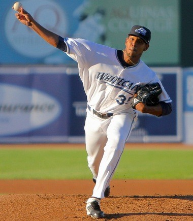West Michigan Whitecaps starter Edgar De La Rosa gave up five runs on six hits in the second inning and got the loss. But manager Larry Parrish said De La Rosa pitched better than the numbers show.