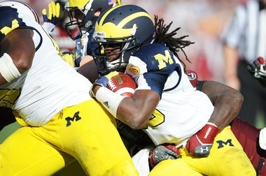 Denard Robinson, shown in his career finale at Michigan, is trying to transition to receiver in the NFL.