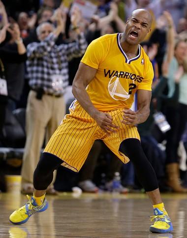 8c1cd351345 Golden State Warriors guard Jarrett Jack sports Adidas' new short-sleeve  uniform during a