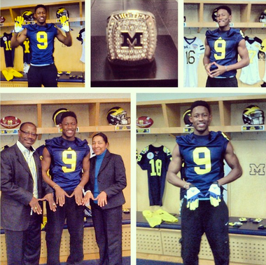 Detroit Country Day receiver Maurice Ways tweeted out this photo after committing Thursday to Michigan.
