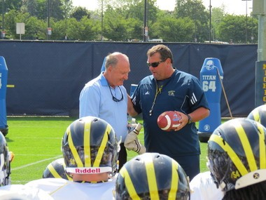 Big Ten commissioner Jim Delany was in Ann Arbor on Friday to meet with the Michigan football team.