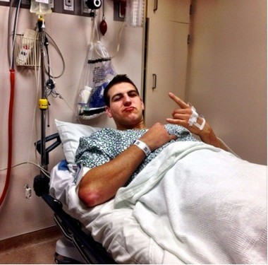 Mitch McGary posted this picture of himself to Instagram and Twitter prior to undergoing surgery to correct a lower back condition on Jan. 7, 2014.
