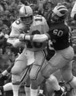Michigan defensive tackle Mark Messner sacks Ohio State's Jim Karsatos as a freshman in U-M's 27-17 win in 1985. Messner was a two-time All-American.