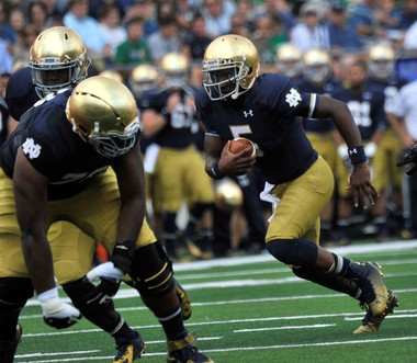 Notre Dame quarterback Everett Golson returned from a year-long absence to help the Fighting Irish beat Rice last week.