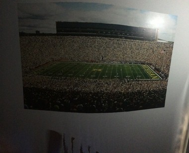 Erik Swenson's giant photo of Michigan Stadium is the first thing he sees in the morning, and the last thing he sees at night.
