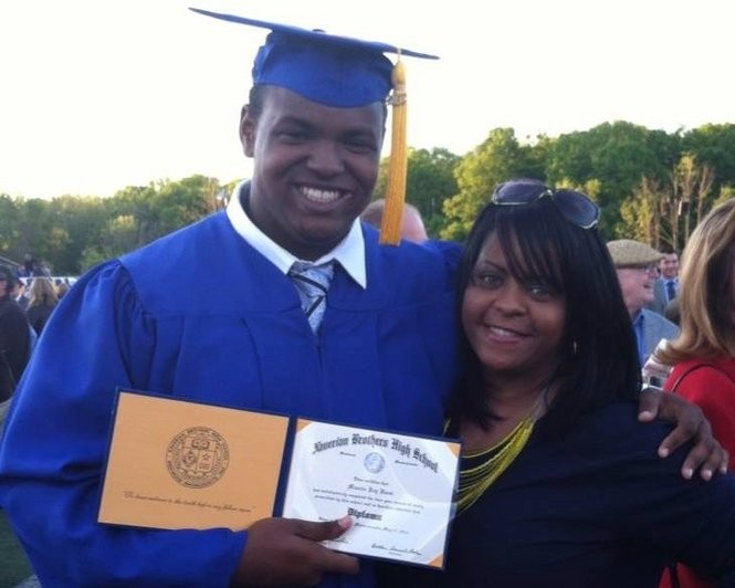 Maurice Hurst Jr. and his mother, Nicole Page, at Maurice's 2013 graduation from Xaverian Brothers High School in Westwood, Massachusetts.