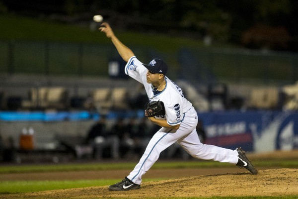 West Michigan's Brandyn Sittinger (35) pitches during the Whitecaps' 2-1 loss to the Dayton Dragons in game two of the Midwest League conference semifinals at Fifth Third Ballpark in Comstock Park on Thursday, Sept. 7, 2017. (Mike Clark | MLive.com)